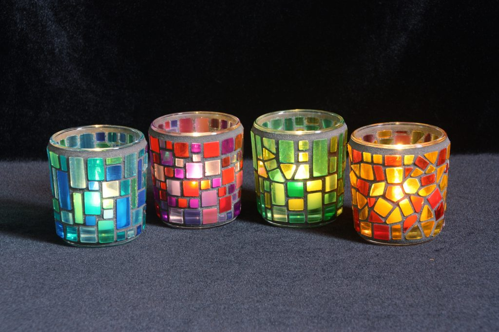 Set of coloured mosaic tealight holders commission